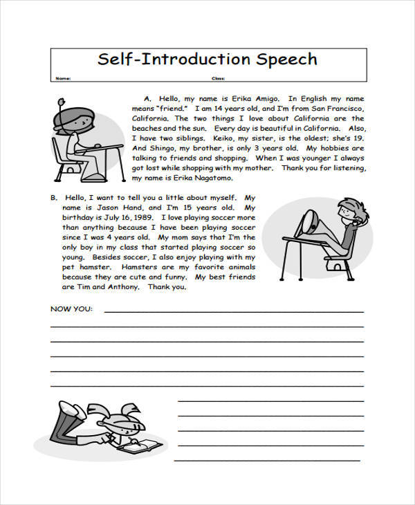 self introduction speech By princess pauline cervantes habla steel: a self introduction speech according to psychologists carl jung and isabel briggs myers typology test, an assessment of.