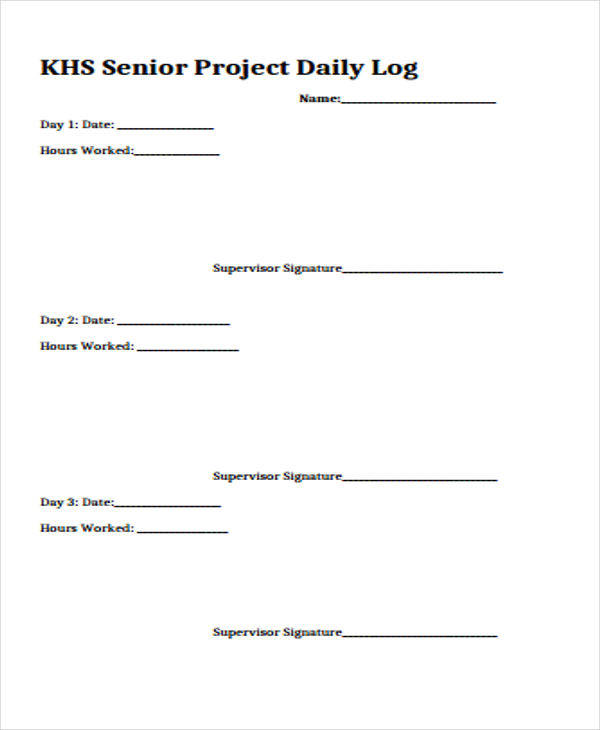 senior project daily log