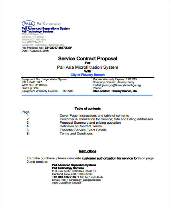 Proposal Contract Template  Free Sample Example Format Download