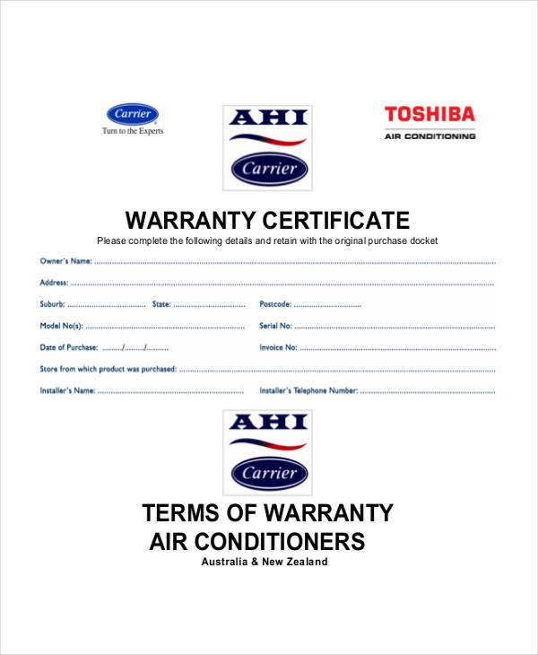 service warranty certificate