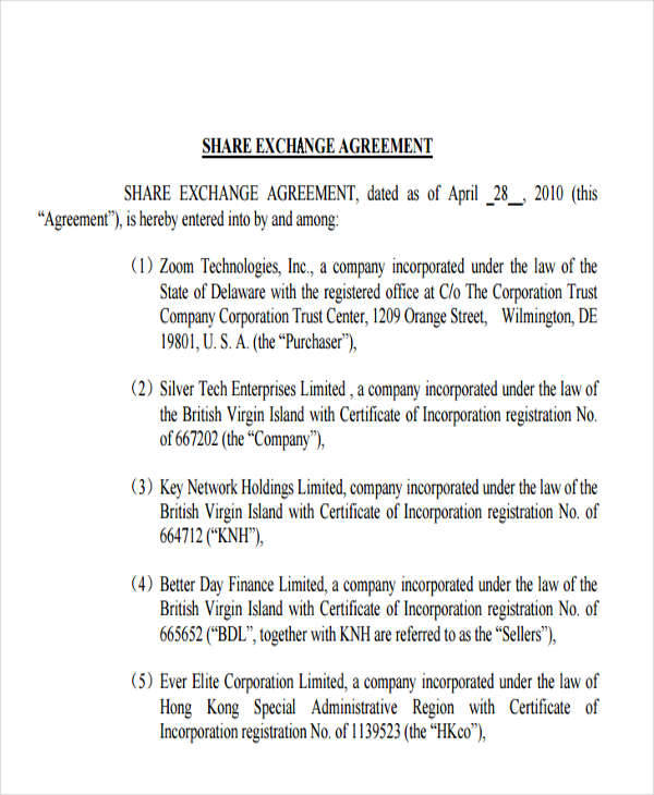 5+ Exchange Agreements - Examples In Word, Pdf