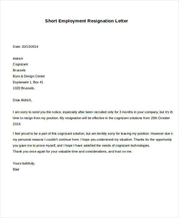 short employment resignation