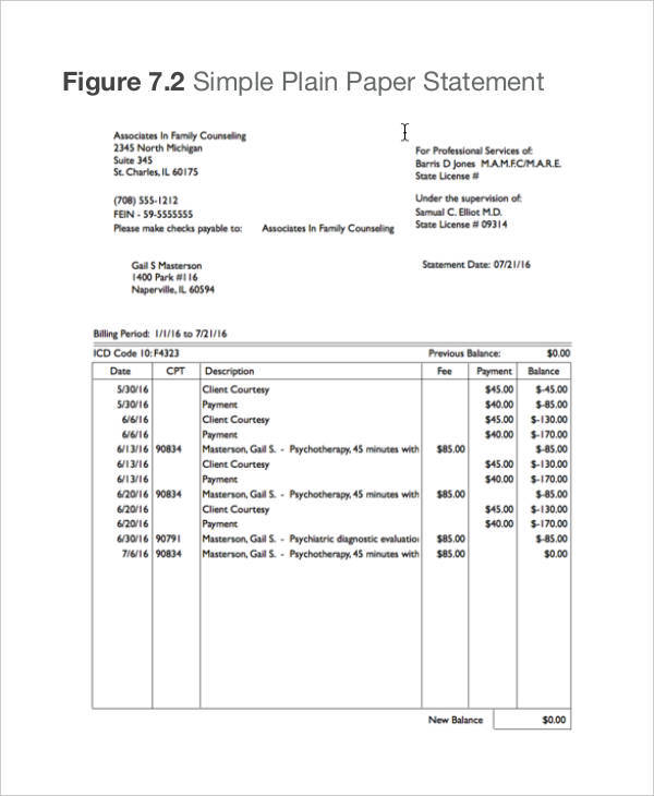 simple billing statement