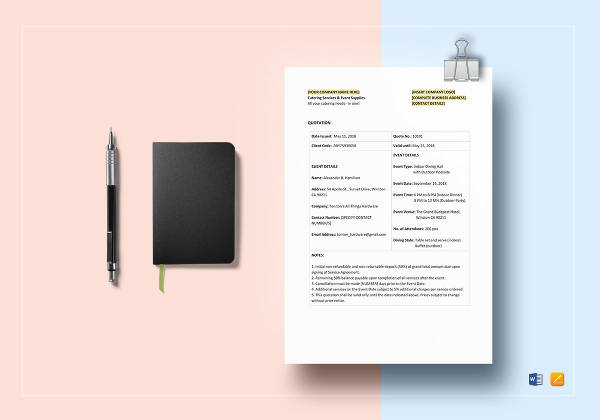 simple catering quotation template