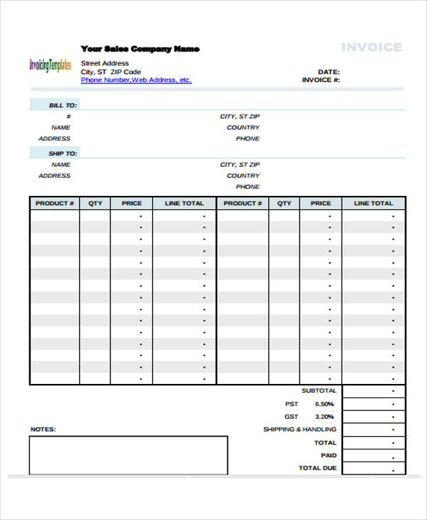 simple sales invoice template