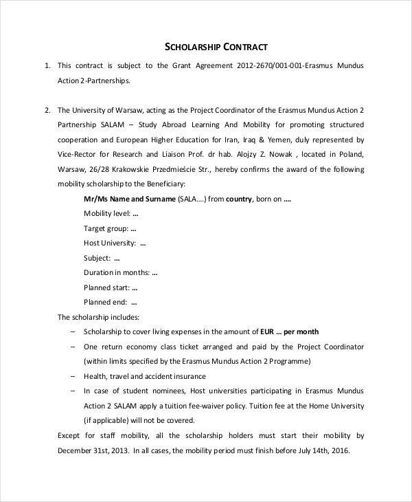 simple scholarship contract1