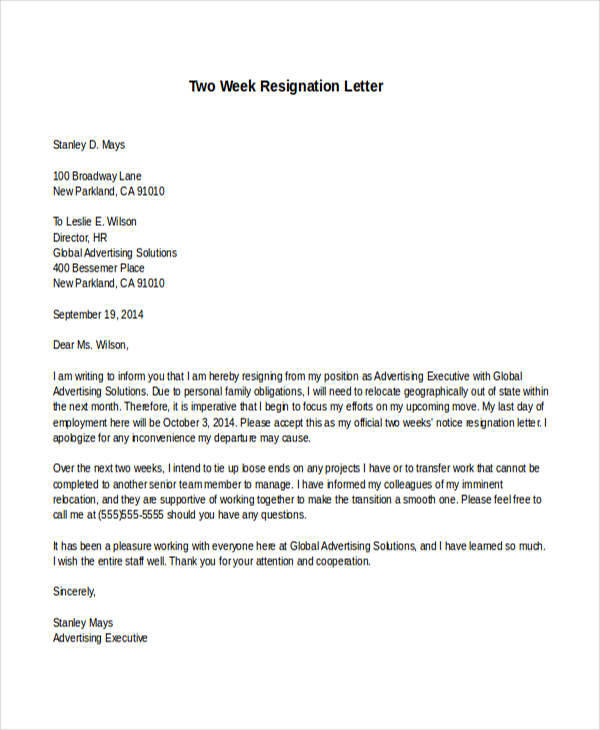 simple two week resignation