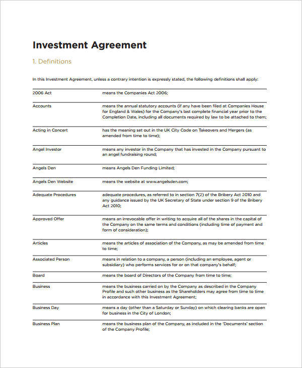9 Investment Agreements Samples & Templates