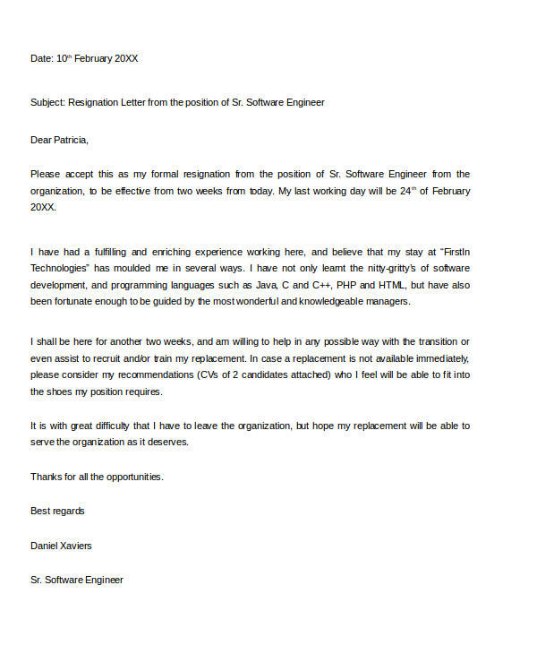 software engineer resignation letter