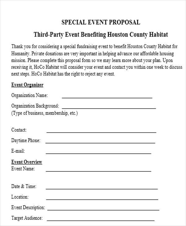 special event coordinator proposal