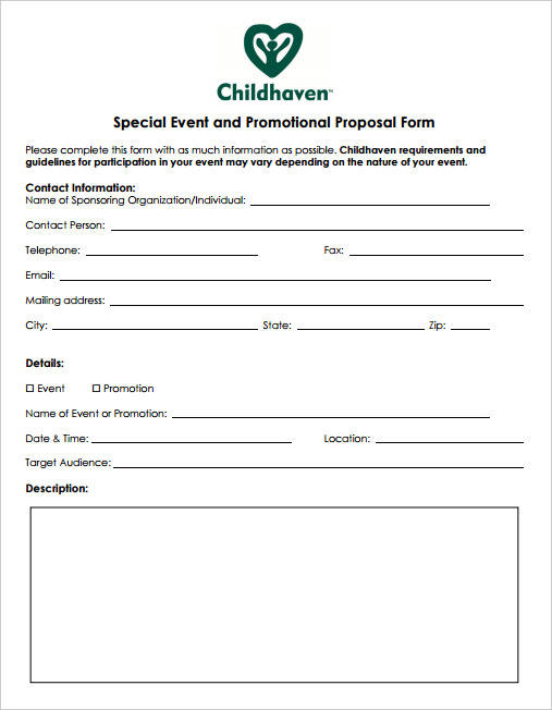 special event and promotion proposal form