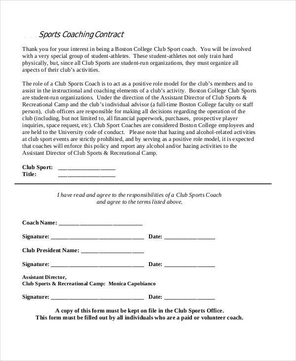 42 Free Contract Templates – Coaching Contract Template