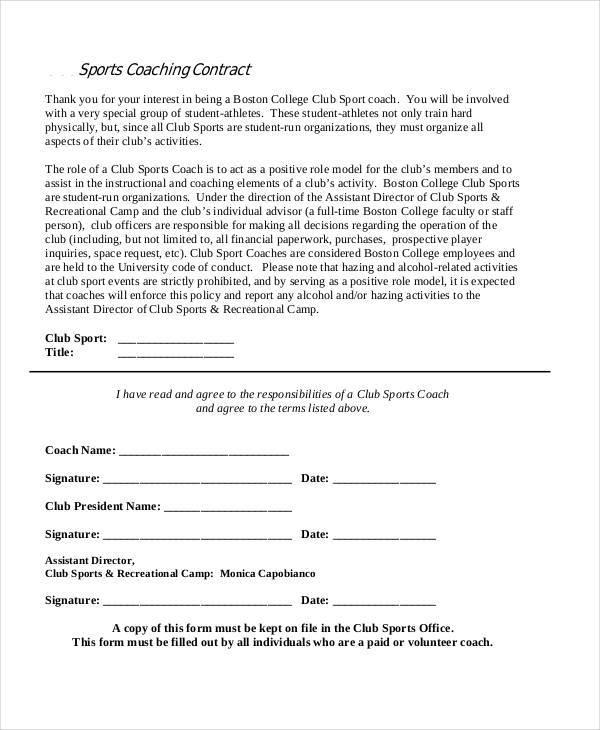 sports coaching contract1