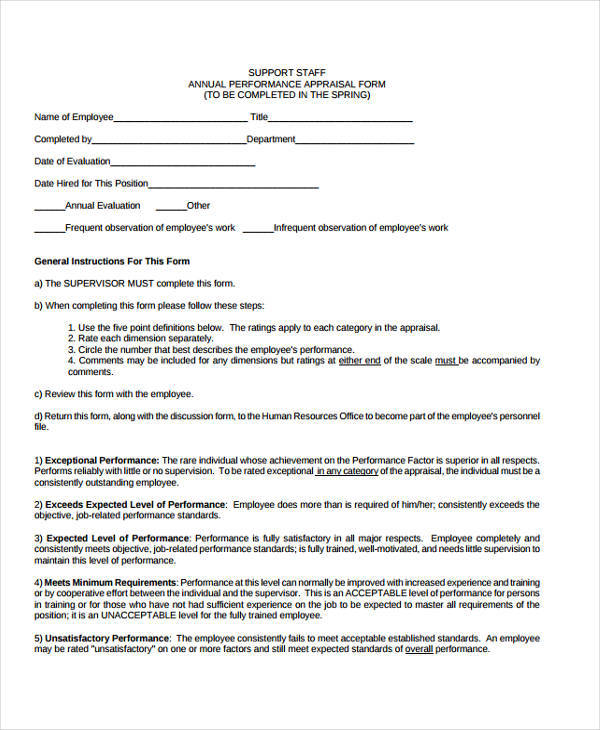 staff annual appraisal form