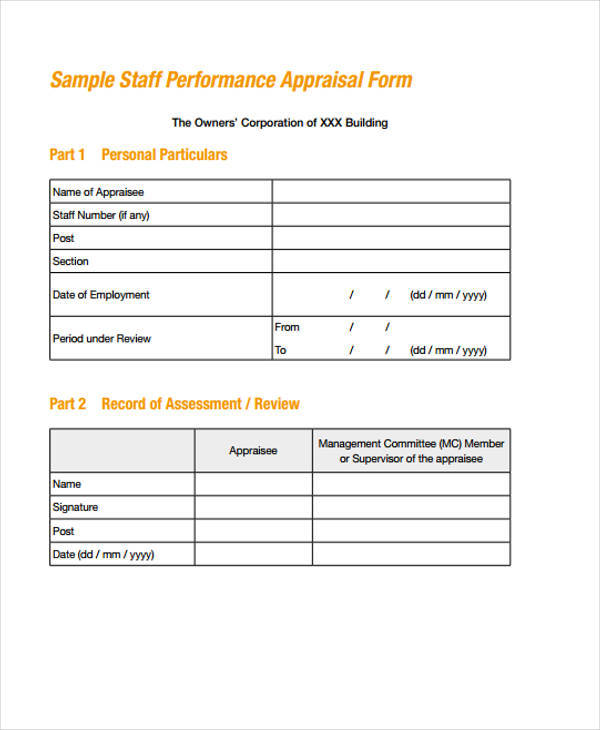 staff appraisal form sample