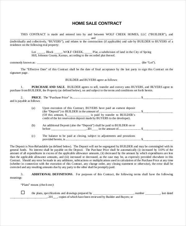 standard home sales contract