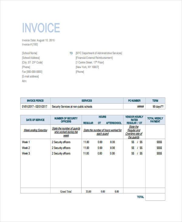 standard invoice example
