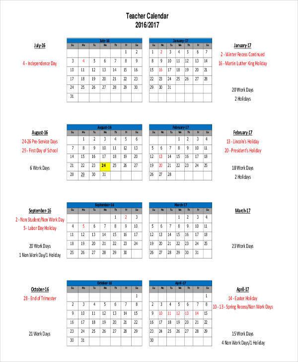 standard teacher calendar