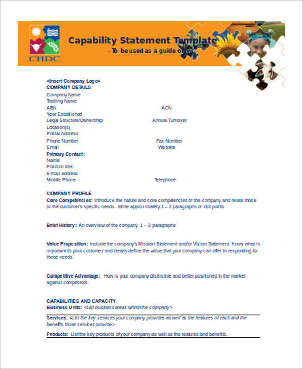 statement for company capability