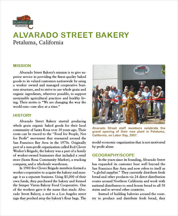 street bakery business plan