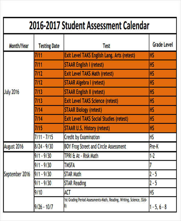 Assessment Calendar Templates  Examples In Word Pdf