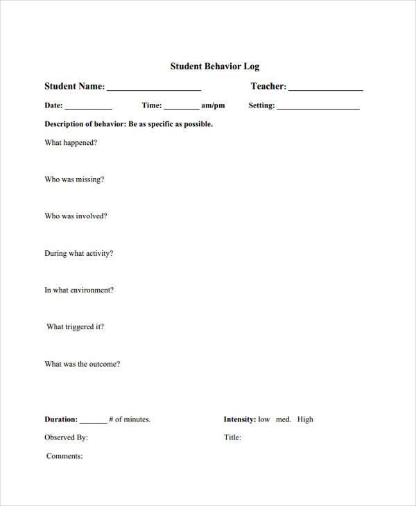 student behavior log2