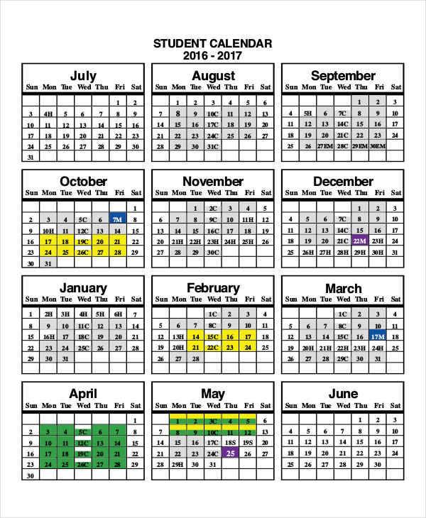 7  attendance calendar templates