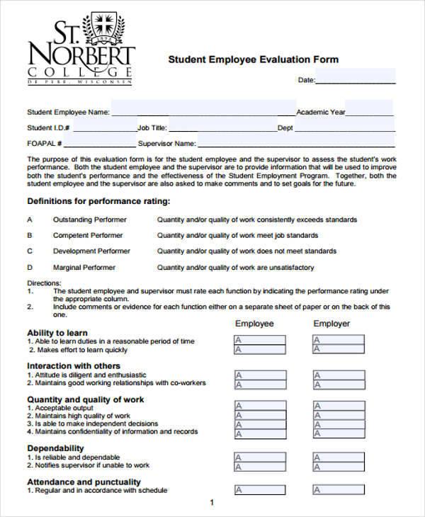 student employee evaluation