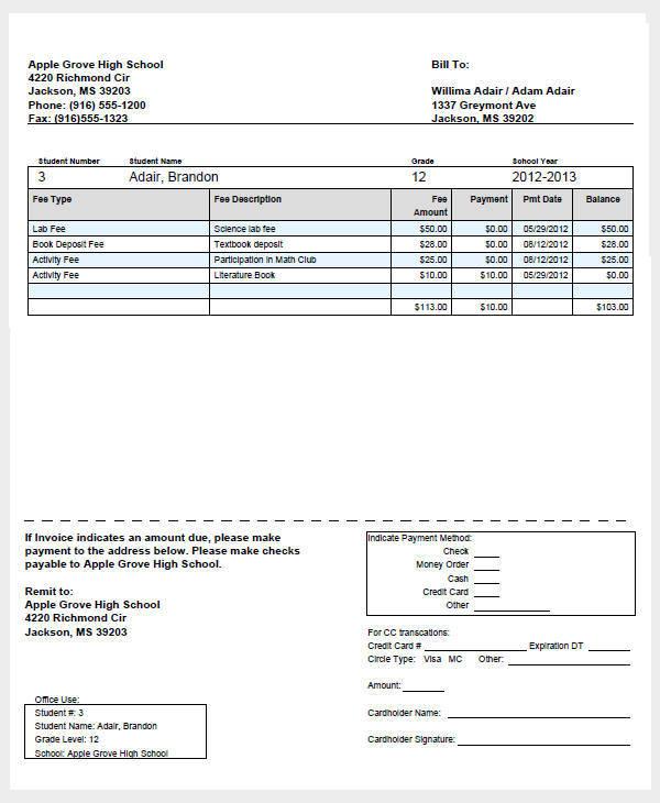 student fee invoice1