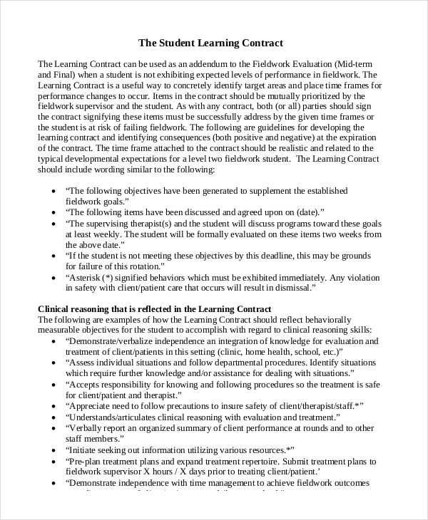 Student Contracts Templates 6 Student Contract Samples Templates In Pdf