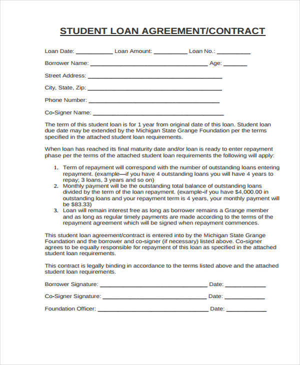 Student Contract Samples  Templates  Pdf Doc
