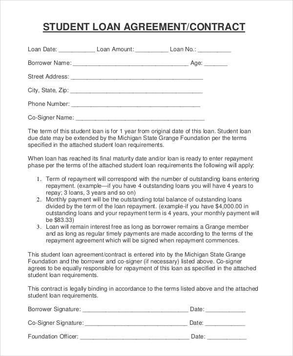 student loan contract