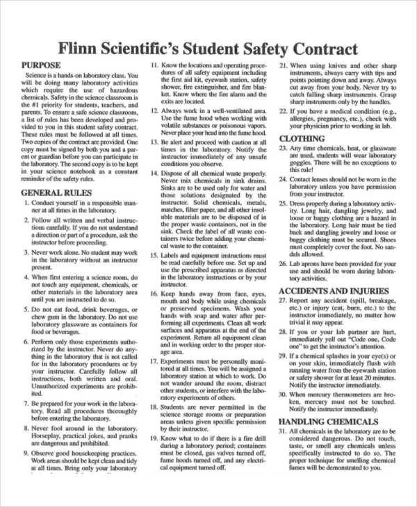 student safety contract