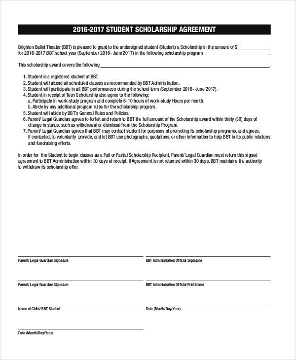 7 Scholarship Contract Samples Templates Pdf Doc