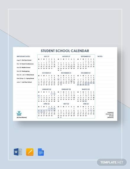 student school calendar template