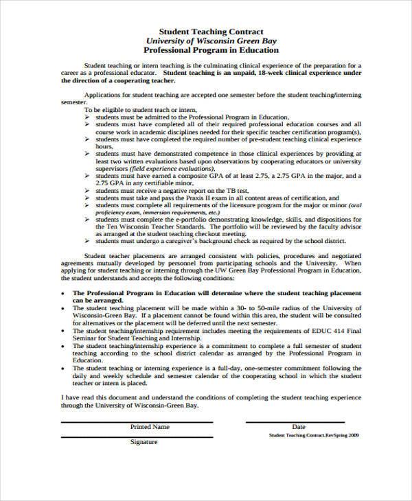 student teacher contract1
