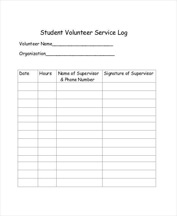 student volunteer service log