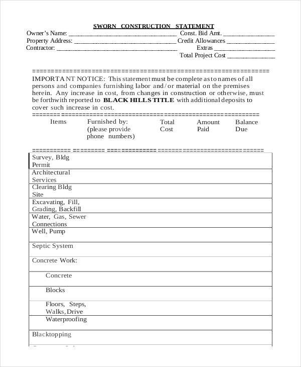 36 free statement samples templates sample templates for Construction statement of work template