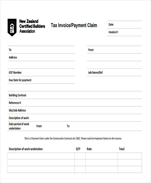 tax payment invoice