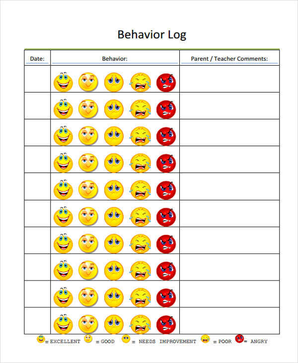 teacher behavior log