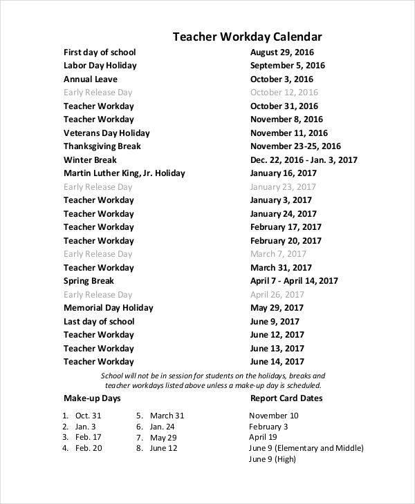 teacher workday calendar