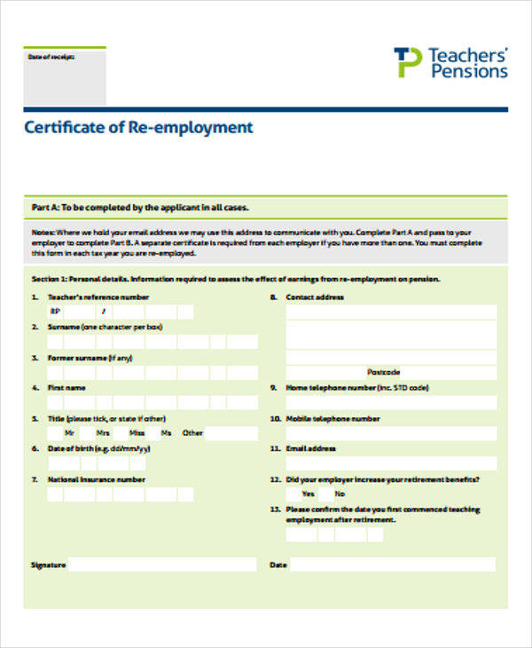 teaching employment certificate