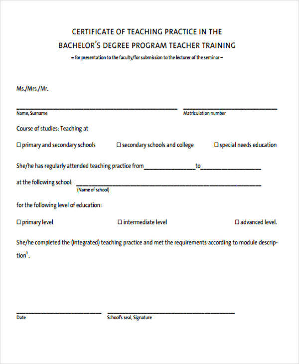 teaching practice certificate