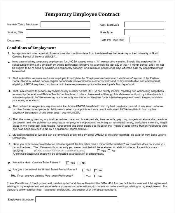 49 basic contract templates sample templates for Temporary employment contract template free