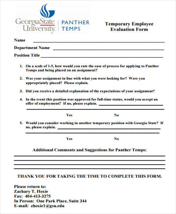 temporary employee evaluation