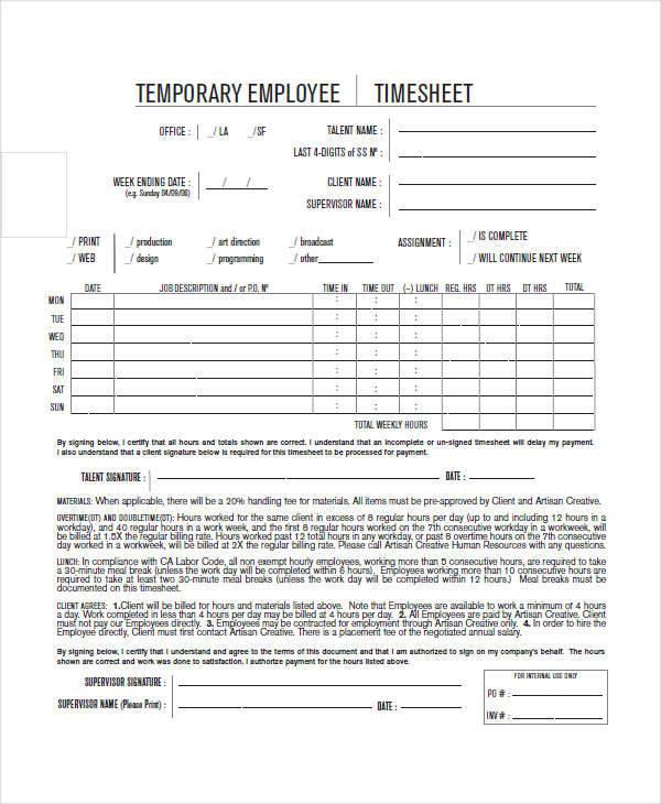 temporary employee hourly timesheet