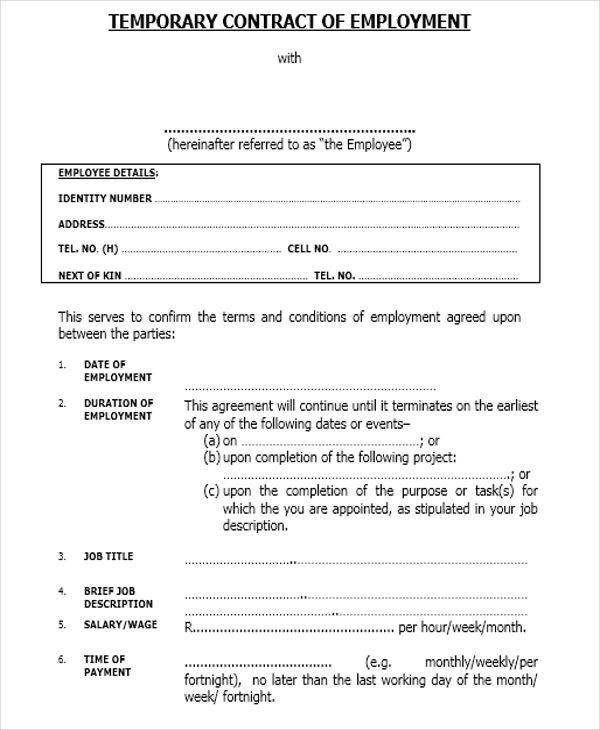 7 job contract samples templates sample templates for Temporary employment contract template free