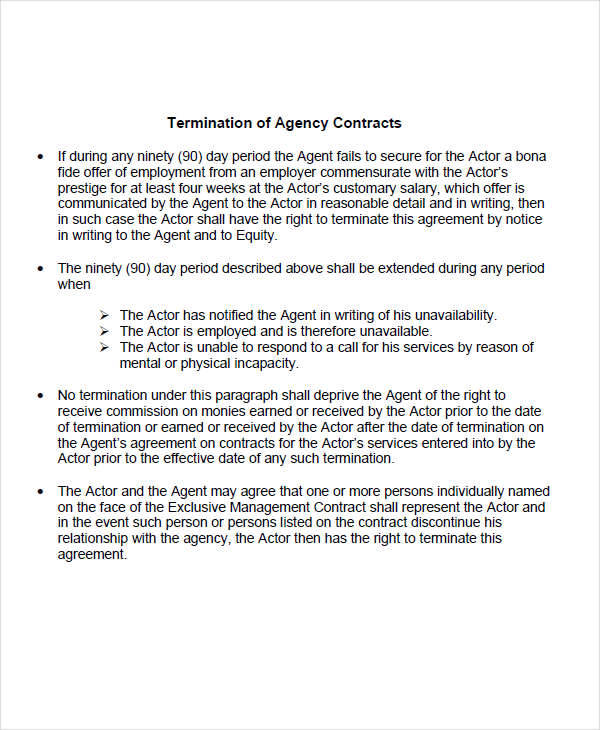 termination agency contract