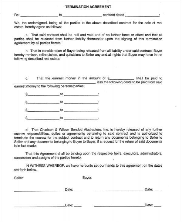 9 termination contract samples free sample example format download