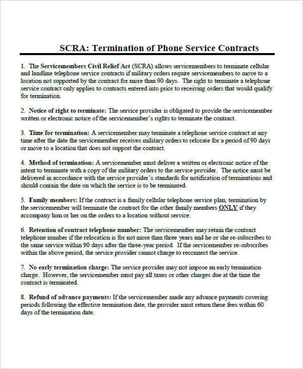 termination service contract